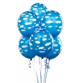 Blue Balloons with Clouds Latex Balloons Pack of 6